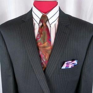 Calvin Klein Suit 50L Black/Gray Stripes 2btn D.Ve